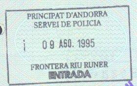 Andorra – border stamp, 1995 post image