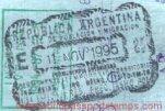 Argentina – border passport stamp, 1995