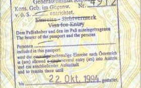 Austria – visa and stamp, 1994 post image