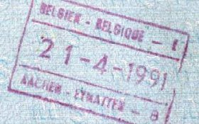Belgium – stamp of border control, 1991 post image
