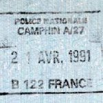 France – stamp of border control, 1991 thumbnail