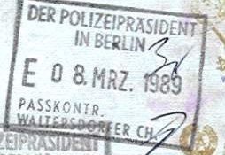Germany – stamp of entry from West Berlin, 1989 post image