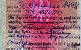Germany – student visa, 1998 post image