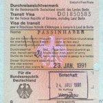 Germany – transit visa, 1991 thumbnail