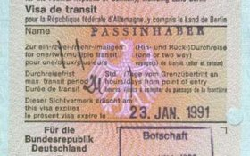 Germany – transit visa, 1991 post image