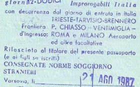 Italy – visa, 1987 post image
