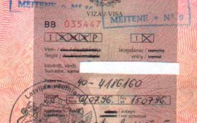 Latvia – visa and stamps of the railway border control, 1996 post image