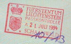 Liechtenstein – stamp of border control, 1994 post image
