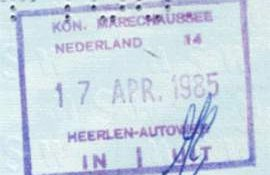 Netherlands – border stamp, 1985 post image