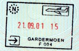 Norway – stamp from the air border crossing, 2001 post image