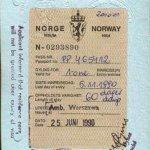 Norway – visa, 1990 thumbnail