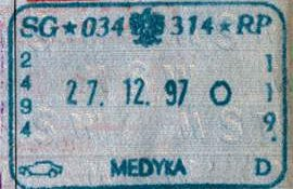 Poland – border stamp, 1997 post image
