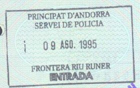 Andorra – border stamp, 1995 post image