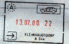 Austria – stamps entry / exit of 1999-2000 post image