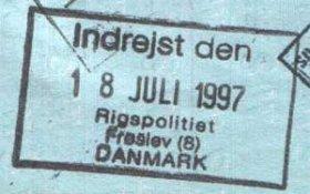 Denmark – passport stamp, 1997 (entry) post image