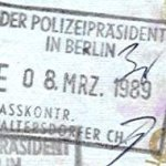 Germany – stamp of entry from West Berlin, 1989 thumbnail