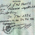Germany – note in the passport of the deportation, 1996 thumbnail