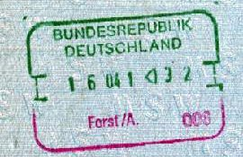Germany – stamp of border control, 1991 post image