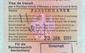 Germany – transit visa, 1991 post image