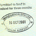 Ireland – entry permit and stamp from the airport, 2001 thumbnail