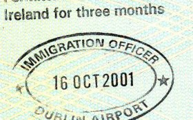 Ireland – entry permit and stamp from the airport, 2001 post image