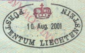 Liechtenstein – border stamp, 2001 post image