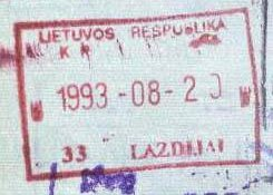 Lithuania – passport stamp, 1993 post image