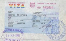 Moldova – business visa and border stamp, 2002 post image