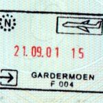 Norway – stamp from the air border crossing, 2001 thumbnail