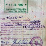 Norway – visa and entry stamp, 1995 thumbnail