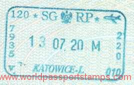Poland – border stamp, 2000 (air) post image