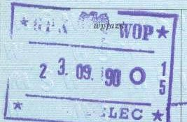 Poland – stamp of border control, 1990 post image