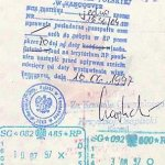 Poland – visa, issued in Vancouver, 1997 thumbnail