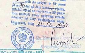 Poland – visa, issued in Vancouver, 1997 post image