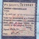 United Kingdom – visa, 1991 thumbnail