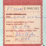 United Kingdom – visa, 1992 thumbnail